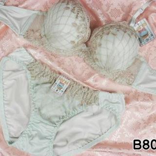 082★B80 L★美胸ブラ ショーツ 谷間メイク ダイアチェック刺繍 緑(ブラ&ショーツセット)