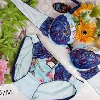 092★B75 M★美胸ブラ ショーツ Wパッド 花 レース 水色×紺(ブラ&ショーツセット)