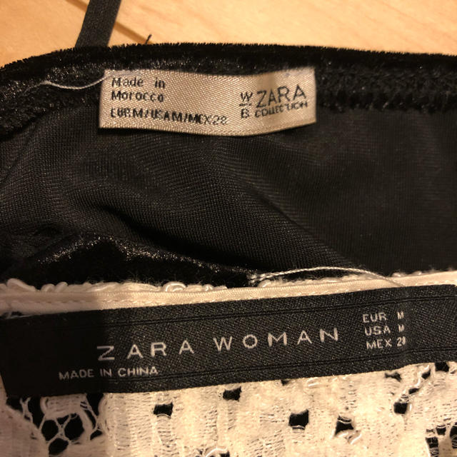 ZARA(ザラ)のZARA*ブラトップキャミ2枚*レースベロアモノトーン レディースのトップス(キャミソール)の商品写真