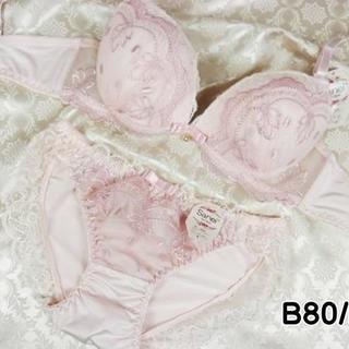 123★B80 L★美胸ブラ ショーツ Wパッド 姫系レース&刺繍 ピンク(ブラ&ショーツセット)