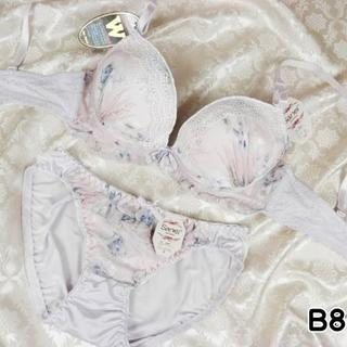 130★B80 L★美胸ブラ ショーツ Wパッド 花プリント 薄紫(ブラ&ショーツセット)