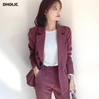 dholic - dholic ワンボタンジャケット テーラード レッドブラウン ピンク