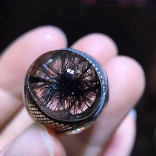高級 ブラックルチルクォーツ リング 16.7×13.4mm s925(リング(指輪))