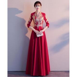 ロングドレス レッド 半袖 パーティー 刺繍(ロングドレス)