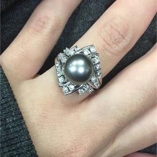 お値引き不可 PT900 南洋黒蝶パール ダイヤ リング(リング(指輪))