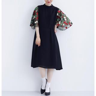 merlot - merlot plus 花刺繍レース袖 ドレス ワンピース ブラック