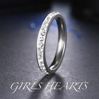 送料無料27号訳ありシルバースーパーCZダイヤステンレスフルエタニティリング指輪(リング(指輪))