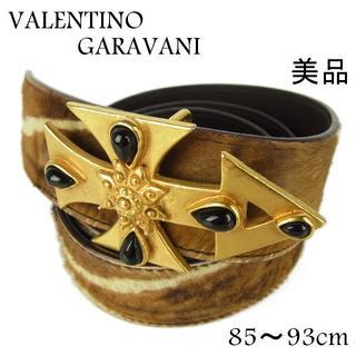ヴァレンティノガラヴァーニ(valentino garavani)のヴァレンティノ ガラヴァーニ 美品 85~93 十字架 ハラコ レザー ベルト(ベルト)