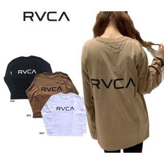 ルーカ(RVCA)のRVCAルーカBACK RVCA LS TEEバックロゴロンTベージュS(Tシャツ(長袖/七分))
