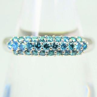 Pt900 ブルーダイヤモンド リング 11号[y103-9] (リング(指輪))