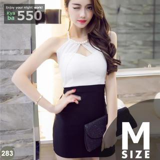 キャバドレス 283B 白黒 ボディコン ミニ バイカラー フェイクパール M(ミニドレス)