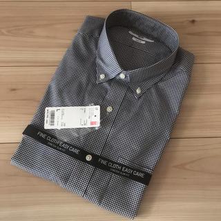 UNIQLO - UNIQLO スリムフィットチェックシャツ ネイビー L