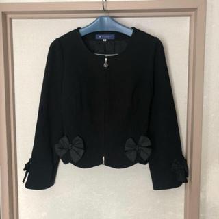 エムズグレイシー(M'S GRACY)の美品エムズグレイシー リボン付きジャケット(ノーカラージャケット)