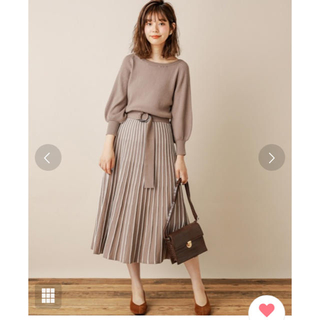 natural couture - 配色ニットプリーツワンピース 美品 グレイッシュベージュ