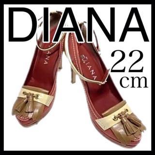 ダイアナ(DIANA)の美品 ダイアナ DIANA パンプス 22㎝ アンクルベルト タッセル レッド(ハイヒール/パンプス)