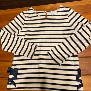 ナチュラルビューティーベーシック(NATURAL BEAUTY BASIC)の美品 ボーダーリボントップス(Tシャツ/カットソー)