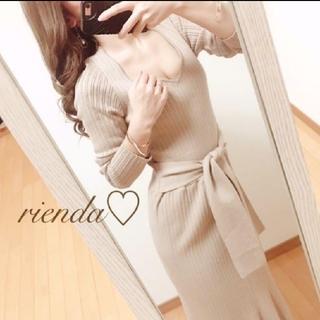rienda - 【美品】リエンダ ウエストタイ フレア Knit ワンピース