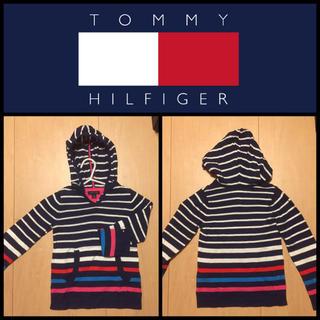 トミーヒルフィガー(TOMMY HILFIGER)の【TOMMY HILFIGER】ニットパーカー 紺ボーダー 4T 105cm(ニット)