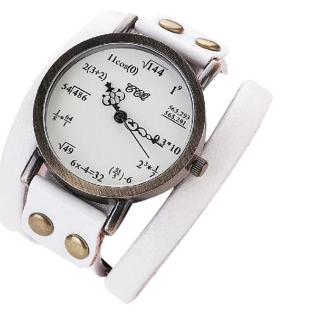 数式腕時計 ぐるぐる ホワイトの通販