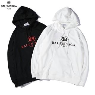 Balenciaga - Balenciaga 美品 黒/白  フード付き ロゴ 刺繍 メンズ パーカー