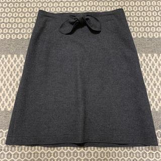 ファミリア(familiar)のファミリア♡グレーウールリボンスカート♡(ひざ丈スカート)