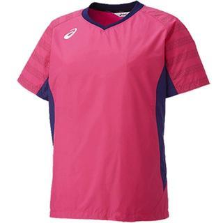 アシックス(asics)の【L】W's 半袖ピステ ウォームアップシャツHS(XWW709 1853/L)(バレーボール)