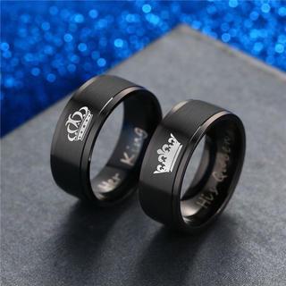 特価高品質!シンプルなブラックステンレスのペアリング 王冠(リング(指輪))