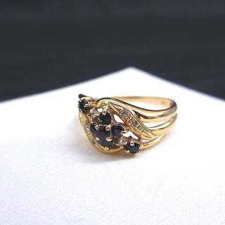 美品 ジュエリー K18 サファイヤ ダイヤモンドリング 指輪 13号(リング(指輪))