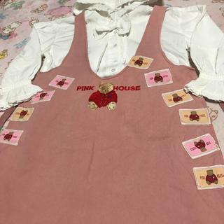PINK HOUSE - ピンクハウス💖おっきな「くま刺繍&ワッペン」いっぱい・かわいいピンクジャンスカ