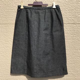 レリアン(leilian)のLeilian レリアン スカート デニム ストレッチ 黒 ブラック 9(ひざ丈スカート)