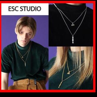 バレンシアガ(Balenciaga)の韓国ファッション【ESC STUDIO】2連ロゴネックレスシルバー(ネックレス)