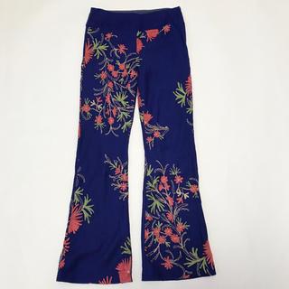 ドリスヴァンノッテン(DRIES VAN NOTEN)の70s Vintage メキシコ製 刺繍 花柄 フレアパンツ ブルー(カジュアルパンツ)