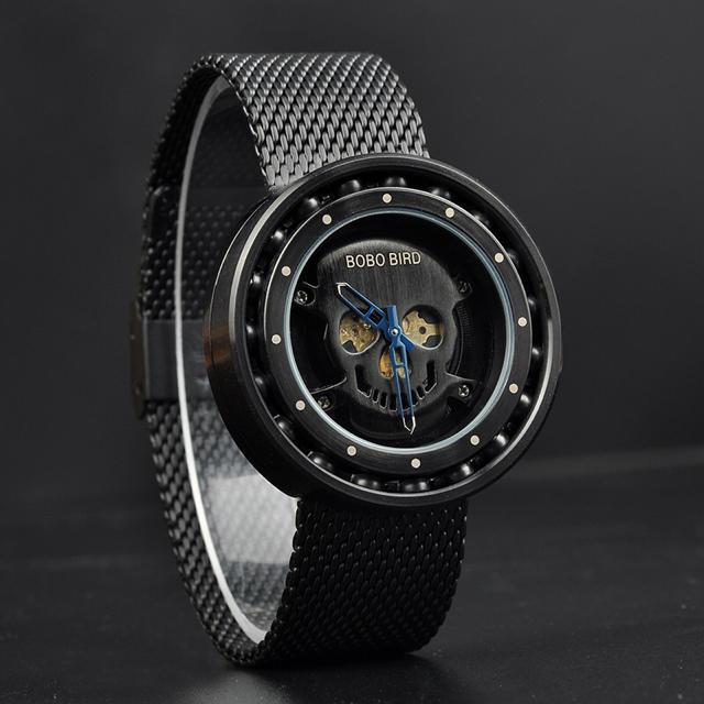 ボボバード 腕時計 メンズ BOBO BIRD ドクロ スカル 黒 ブラックの通販