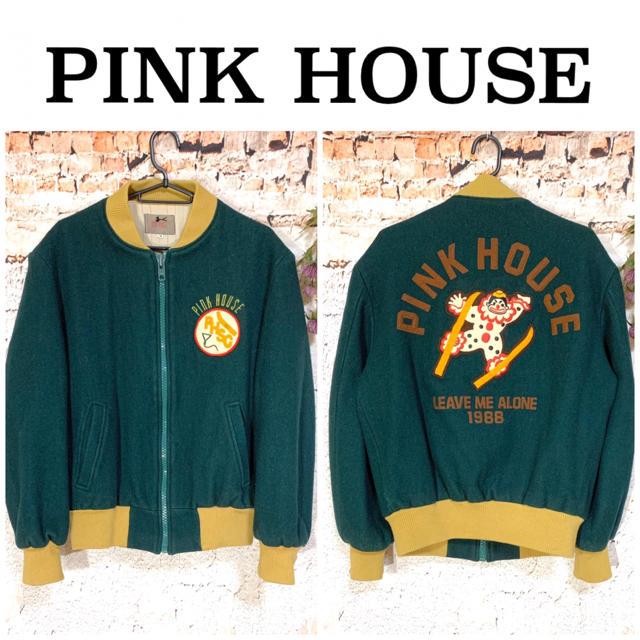 PINK HOUSE(ピンクハウス)の希少ピエロ柄 ピンクハウス ロゴ&ワッペン刺繍 スタジャン ブルゾン レディースのジャケット/アウター(スタジャン)の商品写真
