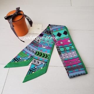 Hermes - 未使用【エルメス】ツイリー コリエドシアン マルチカラー シルク スカーフ
