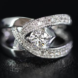 K18 18金 ホワイトゴールド ダイヤモンド リング(リング(指輪))