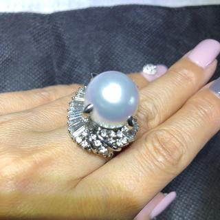 ミキモト(MIKIMOTO)の超大粒南洋パール プラチナ ダイヤモンドリング  ダイヤ2.33ct(リング(指輪))
