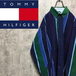 トミーヒルフィガー(TOMMY HILFIGER)の【激レア】トミーヒルフィガー☆刺繍ロゴ入りマルチストライプコーデュロイシャツ(シャツ)