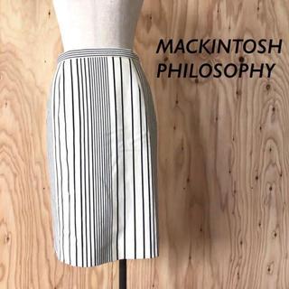 マッキントッシュフィロソフィー(MACKINTOSH PHILOSOPHY)の【極美品】MACKINTOSH PHILOSOPHY ストライプ タイトスカート(ひざ丈スカート)