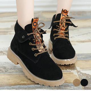 ♥ ブーツ レースアップ ショートブーツ 厚底 シューズ 歩きやすい 防寒(ブーツ)