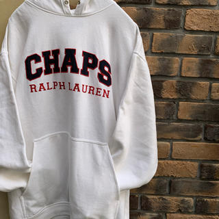 ラルフローレン(Ralph Lauren)の90s chaps ラルフローレン パーカー 白 ロゴ センター 古着 ホワイト(パーカー)