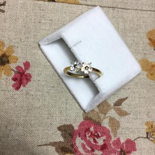 k18 ムーンストーン 11号 お花 フラワー(リング(指輪))