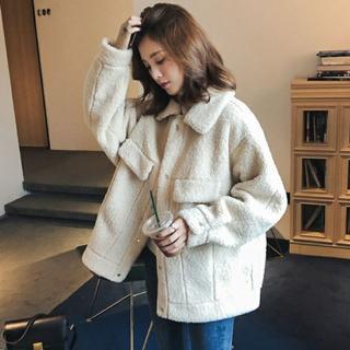 韓国ファッション ボアコート ボアフリース ブルゾン コート ジャケット(ブルゾン)