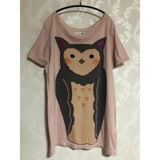 スカラー(ScoLar)の☆彡 ScoLar ミミズク ラメプリント Tシャツ チュニック ☆彡(チュニック)