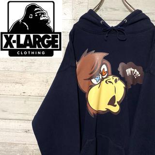 XLARGE - 【レア】エクストララージ☆ビッグロゴ 刺繍ロゴ ロゴタグ パーカー Lサイズ