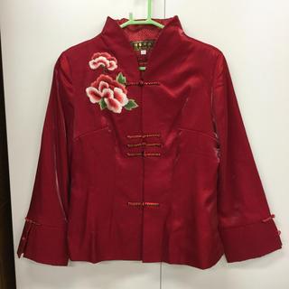 チャイナ服風 ブラウス レディース 赤 上着 おしゃれ(シャツ/ブラウス(長袖/七分))