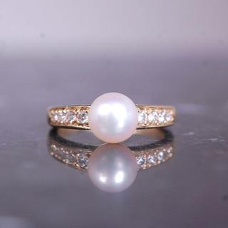 ミキモト(MIKIMOTO)のMIKIMOTO ミキモト パール アコヤ 真珠 ダイヤ リング K18 YG(リング(指輪))