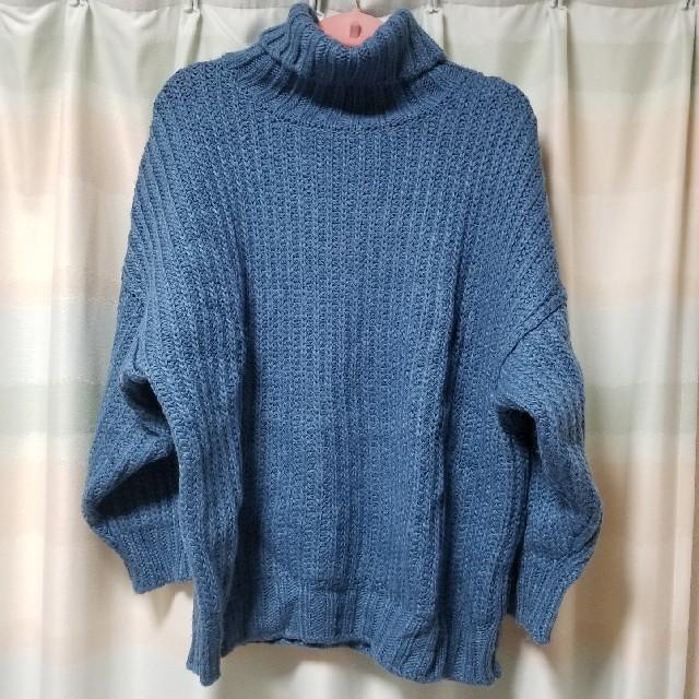 Kastane(カスタネ)のKastaneハイネック太リブBIGニットブルー レディースのトップス(ニット/セーター)の商品写真