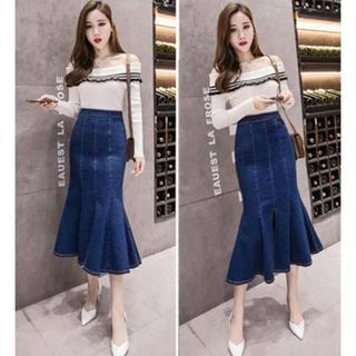 新品★3XL(大きいサイズ)ブルー★デニムマーメイドロングスカート(ロングスカート)