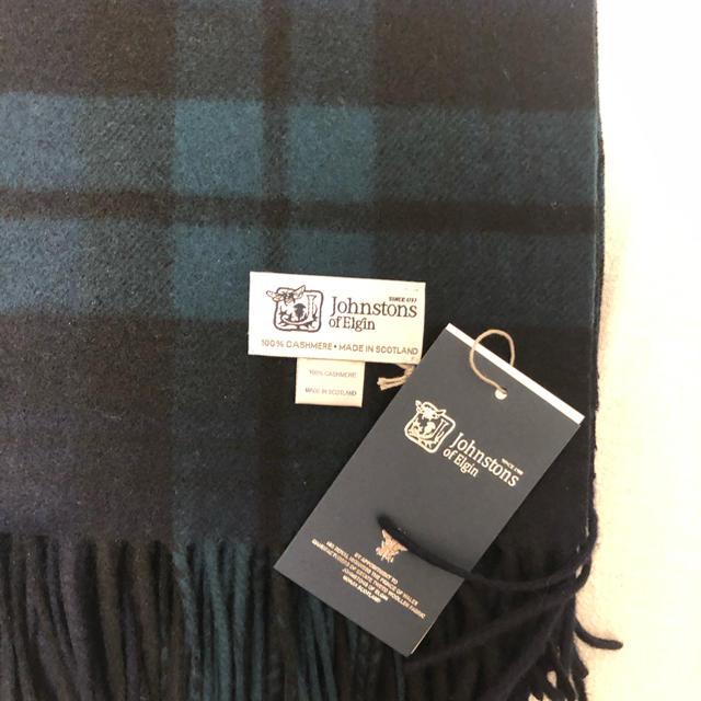 Johnstons(ジョンストンズ)の新品 ジョンストンズ   大判ストール カシミア100% ブラックウォッチ レディースのファッション小物(マフラー/ショール)の商品写真